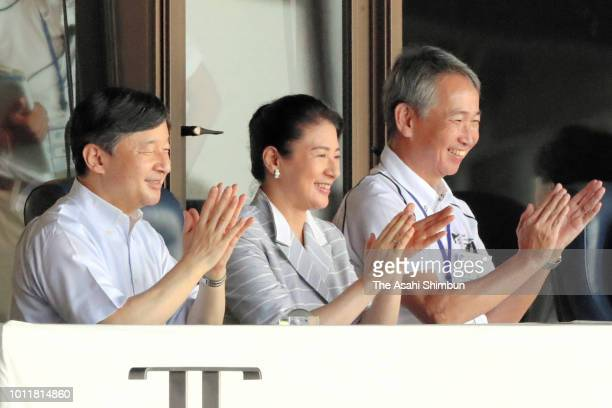 Crown Prince Naruhito and Crown Princess Masako attend the opening ceremony of the 100th Japanese High School Baseball Championship at hanshin...