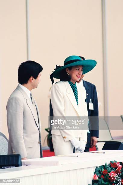 Crown Prince Naruhito and Crown Princess Masako attend the opening ceremony of the National Sports Festival at Tochigi Prefecture Sports Park...