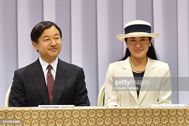 Crown Prince Naruhito and Crown Princess Masako attend the sendoff event for the Japanese national team for Rio 2016 Olympics at Yoyogi National...