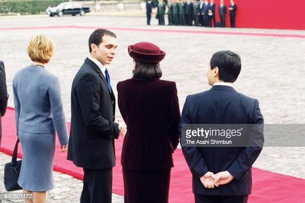 Crown Prince Naruhito and Crown Princess Masako attend the welcome ceremony for the King Abdullah II and Queen Rania of Jordan at the Akasaka State...