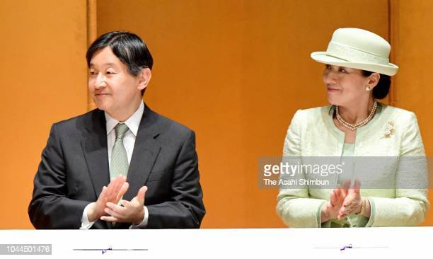 Crown Prince Naruhito and Crown Princess Masako are seen on departure for Fukuoka at Haneda Airport on September 25 2018 in Tokyo Japan