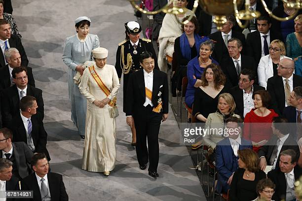 Crown Prince Naruhito and Crown Princess Masako enter the church to attend the inauguration of HM King WillemAlexander of the Netherlands and HM...