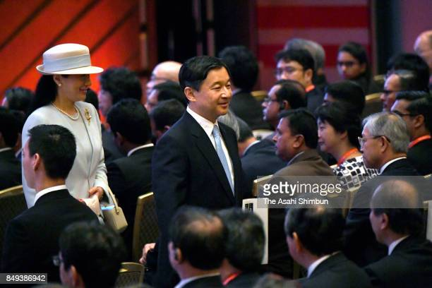 Crown Prince Naruhito and Crown Princess Masako leave after attending the opening ceremony of the LAWASIA The Law Association for Asia and the...