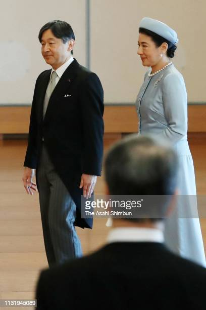 Crown Prince Naruhito and Crown Princess Masako leave after greeting to Emperor Akihito during the ceremony marking the 30th anniversary of the...