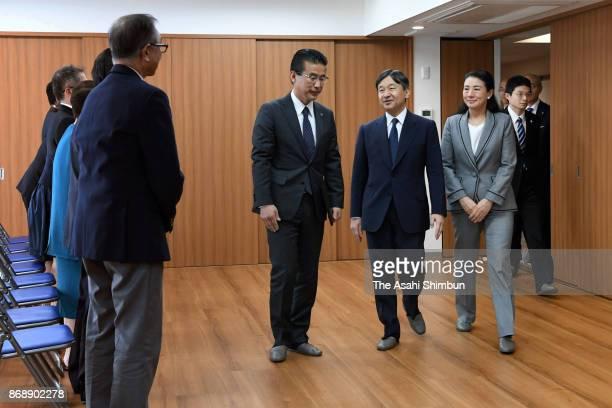 Crown Prince Naruhito and Crown Princess Masako meet the survivors who live at a disaster residence on November 1 2017 in Natori Miyagi Japan The...