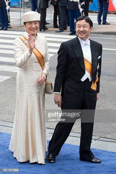 Crown Prince Naruhito and Crown Princess Masako of Japan arrive at the Nieuwe Kerk in Amsterdam for the inauguration ceremony of King Willem...