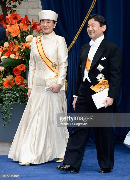Crown Prince Naruhito and Crown Princess Masako of Japan depart the Nieuwe Kerk to return to the Royal Palace after the abdication of Queen Beatrix...