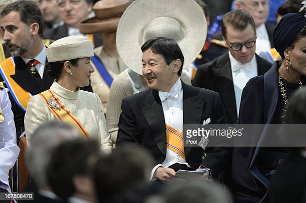 Crown Prince Naruhito and Crown Princess Masako of Japan during the inauguration ceremony of HM King Willem Alexander and HM Queen Maxima of the...