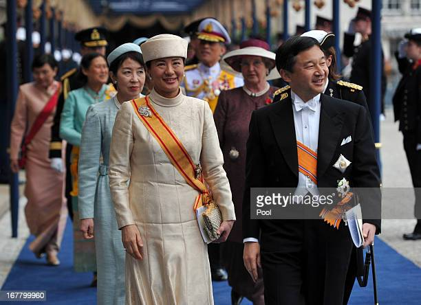 Crown Prince Naruhito and Crown Princess Masako of Japan leave following the inauguration ceremony for HM King Willem Alexander of the Netherlands at...
