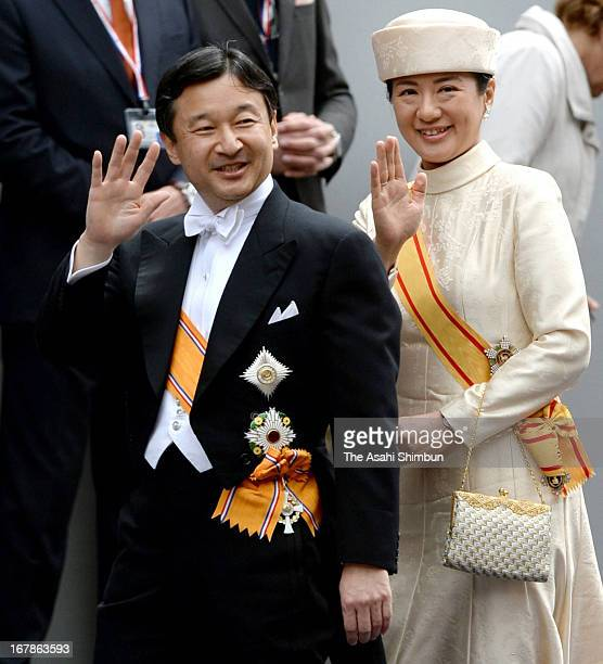Crown Prince Naruhito and Crown Princess Masako of Japan leave the Nieuwe Kerk in Amsterdam after the inauguration ceremony of King Willem Alexander...