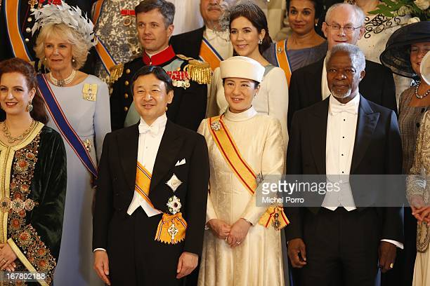 Crown Prince Naruhito and Crown Princess Masako of Japan pose in a group picture with King Willem Alexander and Queen Maxima of the Netherlands...