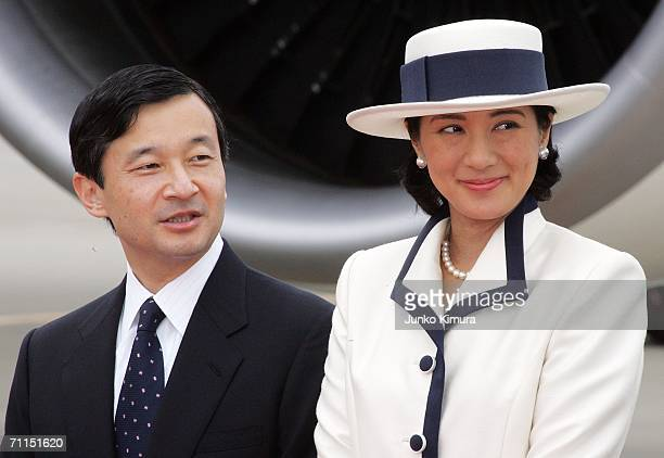 Crown Prince Naruhito and Crown Princess Masako see off Emperor Akihito and Empress Michiko at Tokyo International Airport on June 8, 2006 in Tokyo,...