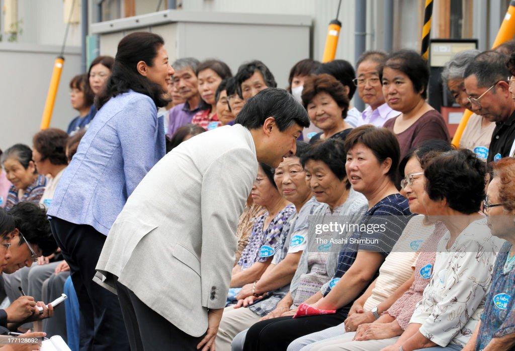 Crown Prince Naruhito And Crown Princess Masako Visit Miyagi