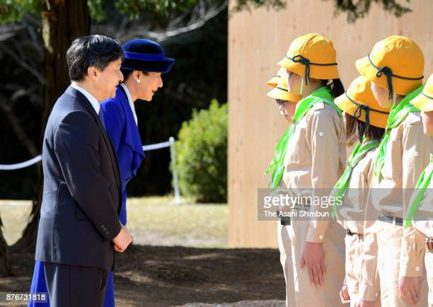 Crown Prince Naruhito and Crown Princess Masako talk to boy scout members during the national Tree Growing Festival on November 19 2017 in Mannou...