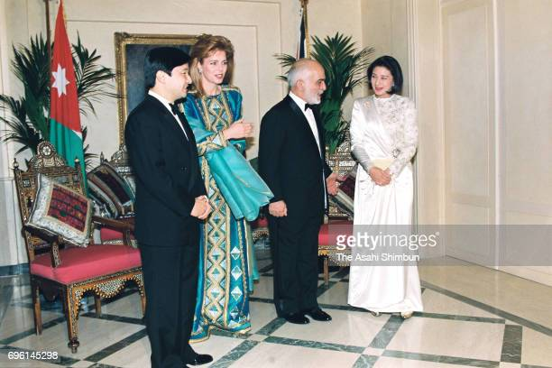 Crown Prince Naruhito and Crown Princess Masako talk with King Hussein of Jordan and Queen Noor of Jordan on January 26 1995 in Amman Jordan