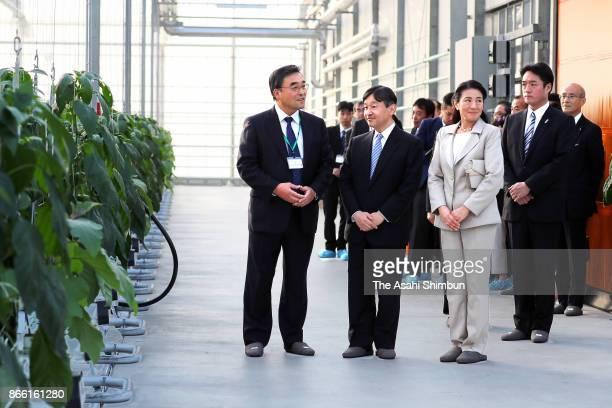 Crown Prince Naruhito and Crown Princess Masako visit a green house on October 23 2017 in Nangoku Kochi Japan