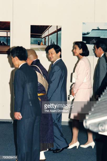 Crown Prince Naruhito and Crown Princess Masako visit a Kaii Higashiyama exhibition at Takashimaya Department Store Nihonbashi Head Store on August...