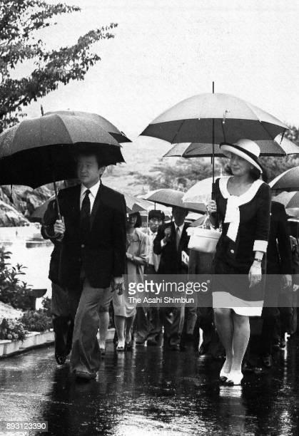 Crown Prince Naruhito and Crown Princess Masako visit Akiyoshidai on July 28 1993 in Akiyoshi Yamaguchi Japan