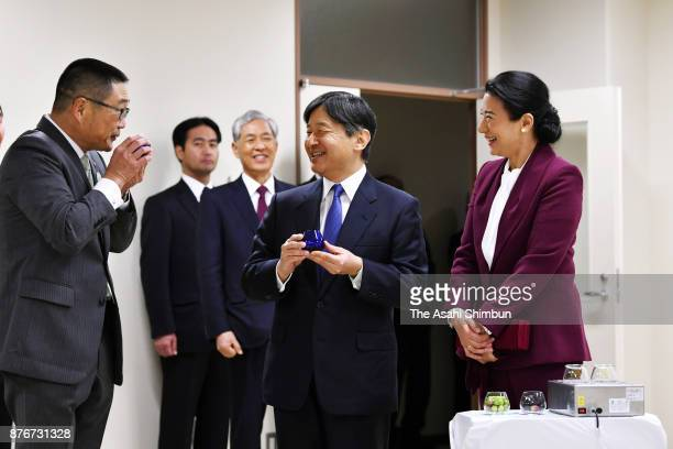 Crown Prince Naruhito and Crown Princess Masako visit the Kagawa Prefecture Agricultural Experiment Station on November 19 2017 in Ayagawa Kagawa...