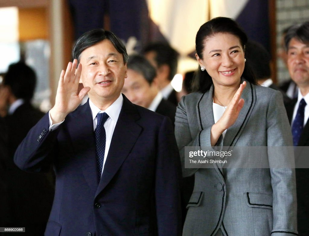 Crown Prince Naruhito and Crown Princess Masako wave to well-wishers on arrival at JR Sendai Station on November 1, 2017 in Sendai, Miyagi, Japan. The prince and princess inspect the restoration from the Great East Japan Earthquake and console victims in Miyagi prefecture.