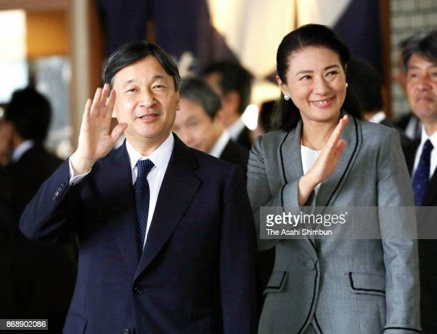 Crown Prince Naruhito and Crown Princess Masako wave to wellwishers on arrival at JR Sendai Station on November 1 2017 in Sendai Miyagi Japan The...