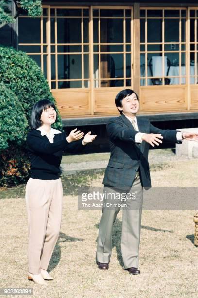 Crown Prince Naruhito and Princess Sayako release ducks at the Shinhama Kamoba on December 10 1992 in Ichikawa Chiba Japan
