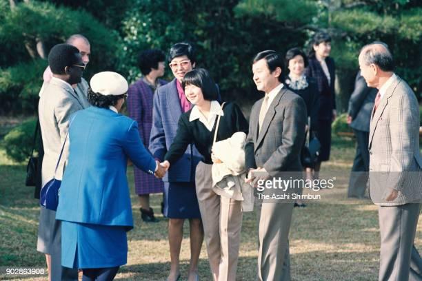 Crown Prince Naruhito and Princess Sayako talk with diplomats at the Shinhama Kamoba on December 10 1992 in Ichikawa Chiba Japan