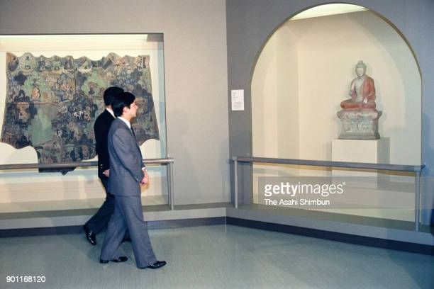 Crown Prince Naruhito attends the 'Central Asian art from the Museum of Indian Art Berlin' at the Tokyo National Museum on April 22 1991 in Tokyo...