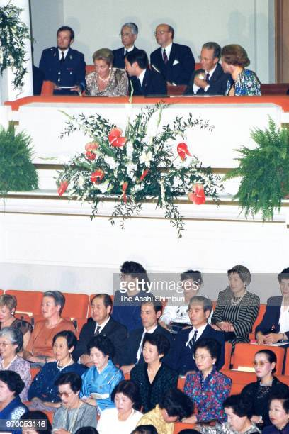 Crown Prince Naruhito attends the Europalia Japan Festival Opening Ceremony with King Baudouin and Queen Fabiola of Belgium at the Centre for Fine...