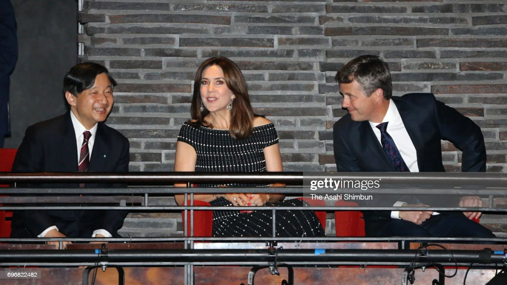 Crown Prince Naruhito (L), Crown Princess Mary (C), Crown Prince Frederik of Denmark (R) attend a Japanese music concert on June 16, 2017 in Copenhagen, Denmark.