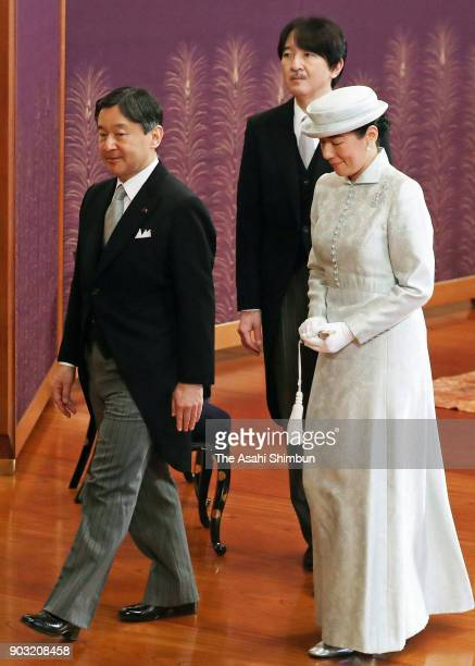 Crown Prince Naruhito Crown Princess Masako and Prince Akishino leave after the 'KoshoHajimenoGi' the first lecture of the year at the Imperial...