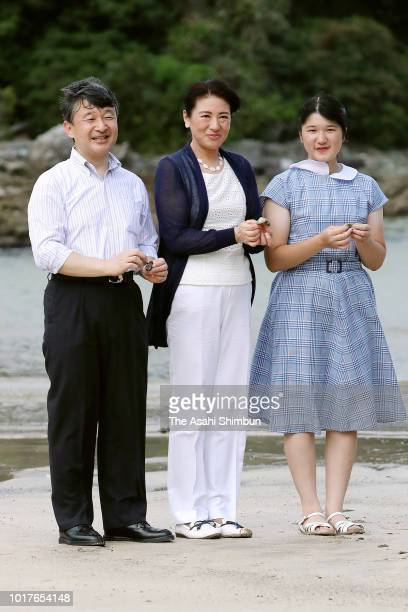 Crown Prince Naruhito Crown Princess Masako and Princess Aiko are seen at Mitsuihama Beach as they visit the Suzaki Imperial Villa on August 16 2018...