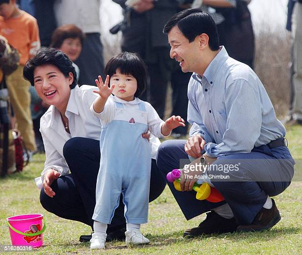 Crown Prince Naruhito Crown Princess Masako and Princess Aiko are seen at the Hayama Imperial Villa on April 13 2003 in Hayama Kanagawa Japan