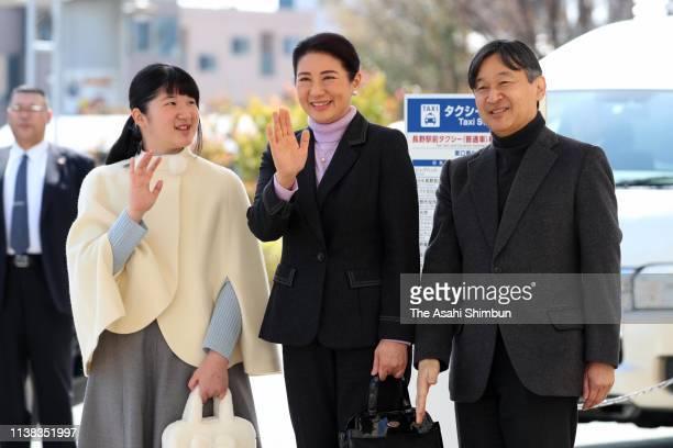 Crown Prince Naruhito, Crown Princess Masako and Princess Aiko are seen on arrival at Nagano Station on March 25, 2019 in Nagano, Japan.