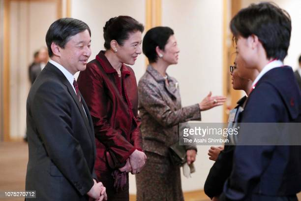 Crown Prince Naruhito Crown Princess Masako and Princess Hisako of Takamado talk with winners during the 70th Prince Takamado Trophy All Japan Junior...
