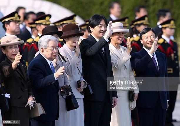 Crown Prince Naruhito, Crown Princess Masako, Prince Akishino and Princess Kiko of Akishino, Prince Hitachi and Princess Hanako of Hitachi see off...