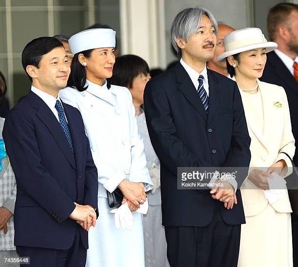 Crown Prince Naruhito Crown Princess Masako Prince Akishino and Princess Kiko greet Emperor Akihito and Empress Michiko upon their return from Europe...