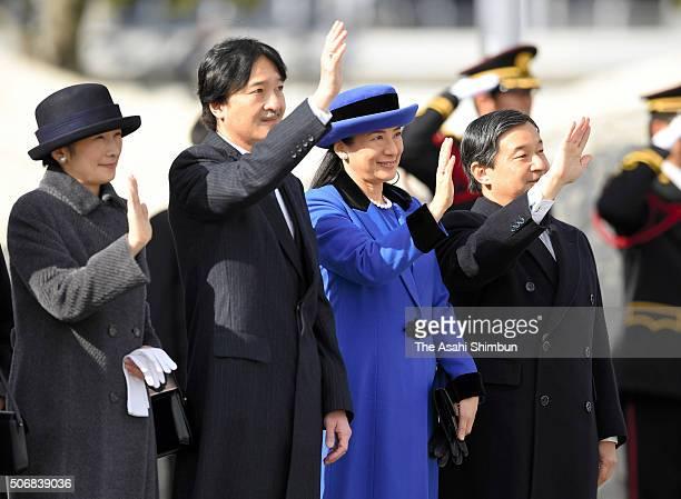 Crown Prince Naruhito Crown Princess Masako Prince Akishino Princess Kiko of Akishino see off Emperor Akihito and Empress Michiko on departure for...