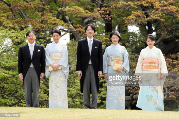 Crown Prince Naruhito Crown Princess Masako Prince Akishino Princess Kiko and Princess Mako of Akishino attend the Spring Garden Party at Akasaka...