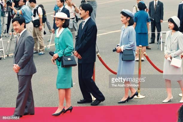 Crown Prince Naruhito Crown Princess Masako Prince Akishino Princess Kiko of Akishino and Princess Sayako wait for arrival of Emperor Akihito and...