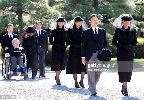 Crown Prince Naruhito , Crown Princess Masako , Princess Mako , Princess Kako , Prince Hitachi and Princess Hanako of Hitachi attend the funeral of...