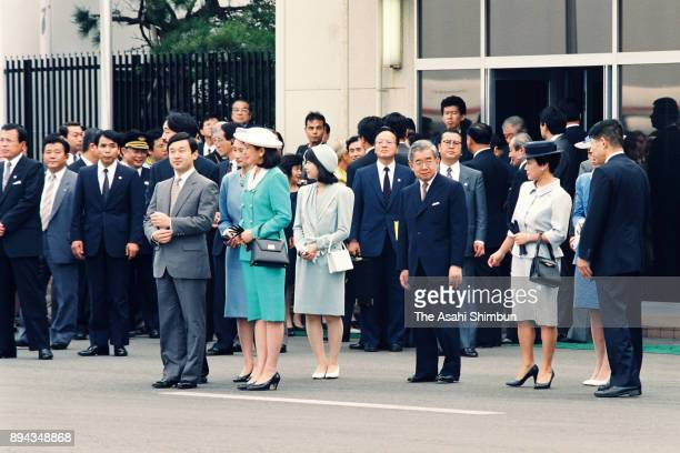 Crown Prince Naruhito Crown Princess Masako Princess Sayako Princess Kiko of Akishino Prince Hitachi and Princess Hanako of Hitachi wait for arrival...