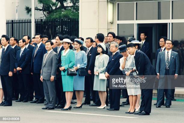 Crown Prince Naruhito, Crown Princess Masako, Princess Sayako, Princess Kiko of Akishino, Prince Hitachi and Princess Hanako of Hitachi wait for...