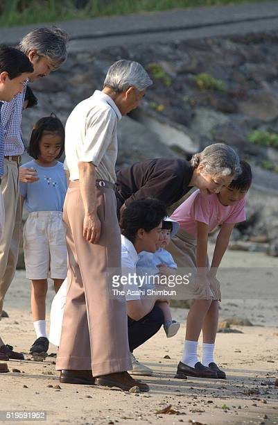 Crown Prince Naruhito Emperor Akihito Crown Princess Masako holding Princess Aiko Prince Akishino Empress michiko Princess Mako and Princess Kako...