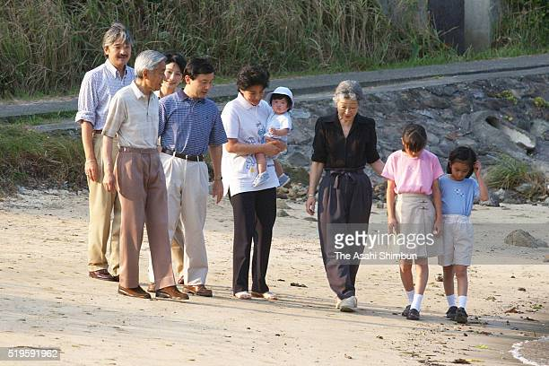 Crown Prince Naruhito Emperor Akihito Crown Princess Masako holding Princess Aiko Prince Akishino Empress michiko Princess Mako Princess Kiko and...