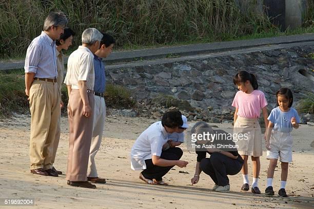 Crown Prince Naruhito Emperor Akihito Crown Princess Masako holding Princess Aiko Prince Akishino Empress michiko Princess Mako Princess Kiko and...