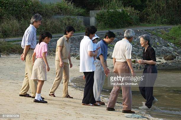 Crown Prince Naruhito Emperor Akihito Crown Princess Masako holding Princess Aiko Prince Akishino Empress Michiko Princess Mako and Princess Kiko...