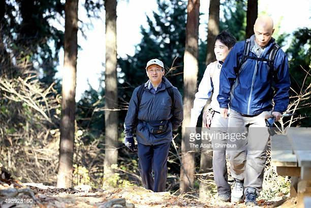 Crown Prince Naruhito enjoys trekking at Mount Sekirosan on November 27 2015 in Sagamihara Kanagawa Japan
