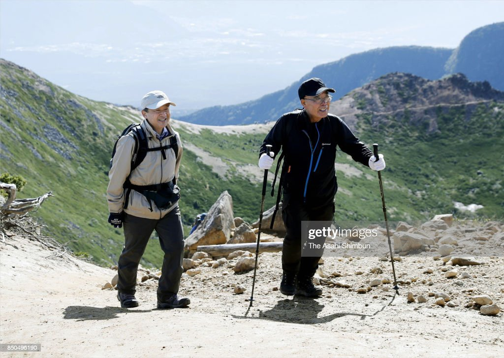 Crown Prince Naruhito enjoys trekking with a guide at Mt. Tengudake on September 21, 2017 in Chino, Nagano, Japan.