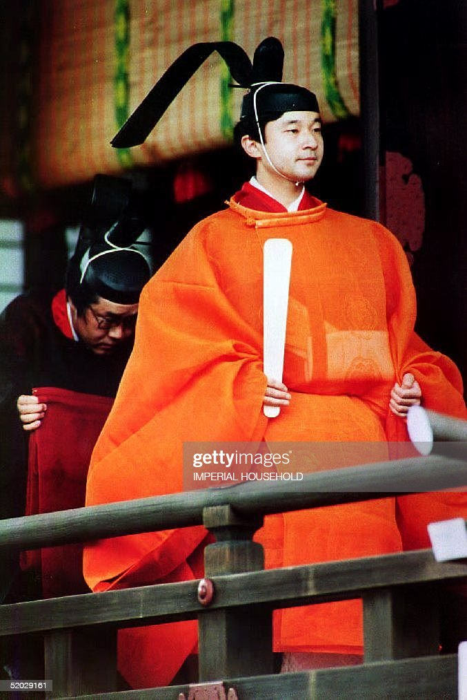 Crown Prince Naruhito in full Imperial court dress : News Photo
